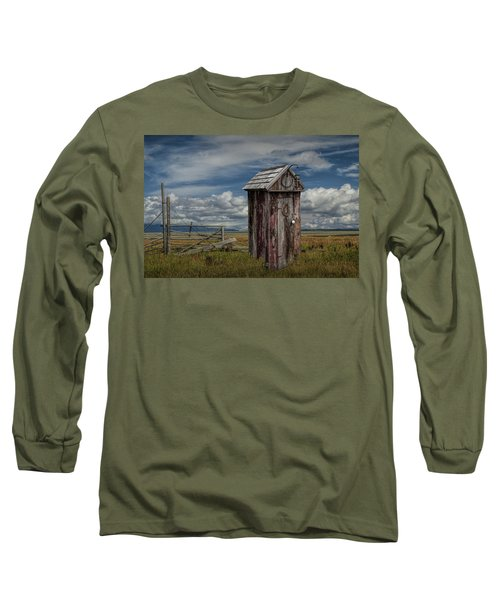 Wood Outhouse Out West Long Sleeve T-Shirt by Randall Nyhof
