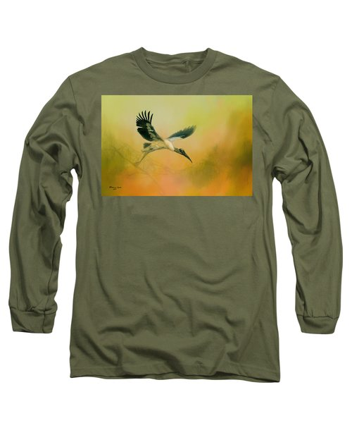 Long Sleeve T-Shirt featuring the photograph Wood Stork Encounter by Marvin Spates