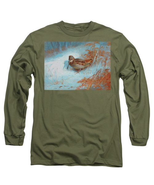 A Woodcock In The Snow Long Sleeve T-Shirt
