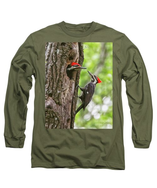 Woodpeckers Trading Places Long Sleeve T-Shirt by Myrna Bradshaw