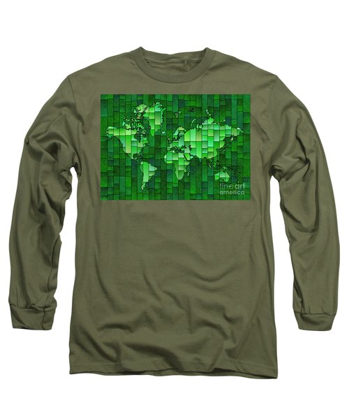 World Map Glasa Green Long Sleeve T-Shirt by Eleven Corners