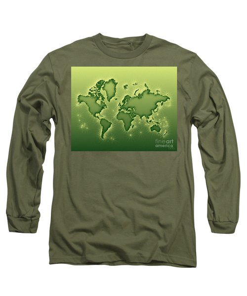 World Map Opala In Green And Yellow Long Sleeve T-Shirt by Eleven Corners