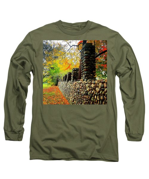 Wright Park Stone Wall In Fall Long Sleeve T-Shirt