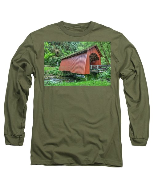 Yachats Covered Bridge Long Sleeve T-Shirt