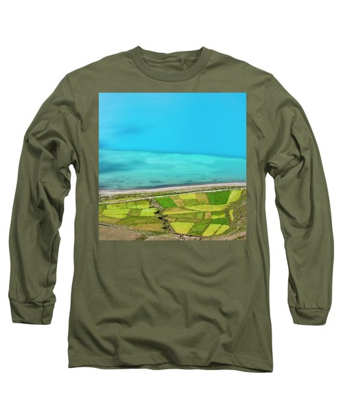 Long Sleeve T-Shirt featuring the photograph Yamdrok Abstract 3, Tibet, 2007 by Hitendra SINKAR