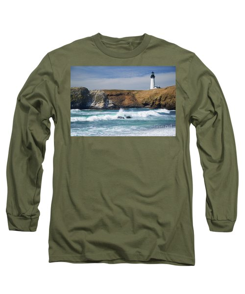 Yaquina Head Lighthouse On The Oregon Coast Long Sleeve T-Shirt