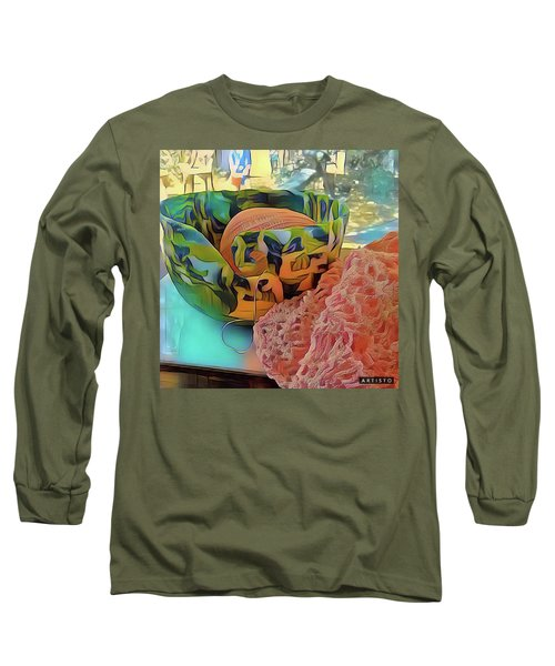 Long Sleeve T-Shirt featuring the digital art Yarn Bowl by Ginny Schmidt
