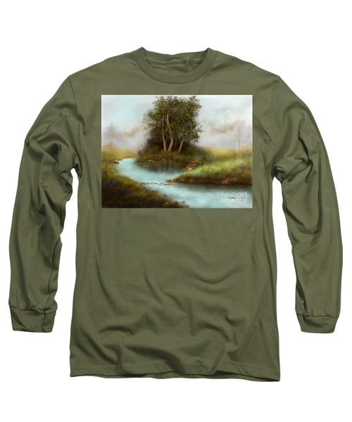 Long Sleeve T-Shirt featuring the painting Yearling by Sena Wilson
