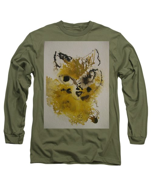 Yellow And Brown Cat Long Sleeve T-Shirt by AJ Brown