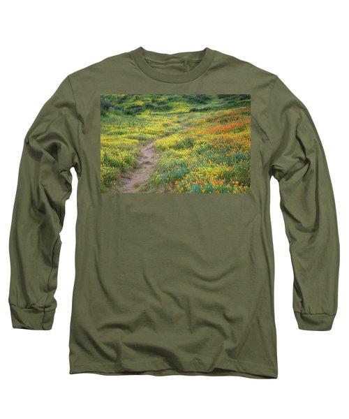 Long Sleeve T-Shirt featuring the photograph Yellow And Orange Wildflowers Along Trail Near Diamond Lake by Jetson Nguyen