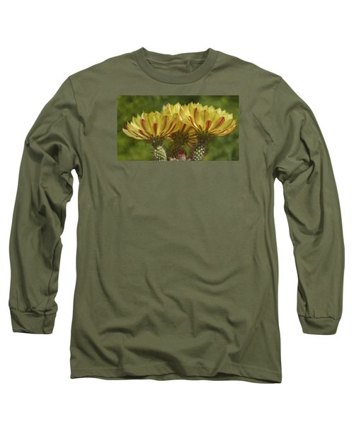 Yellow And Red Cactus Flowers Long Sleeve T-Shirt by Elvira Butler
