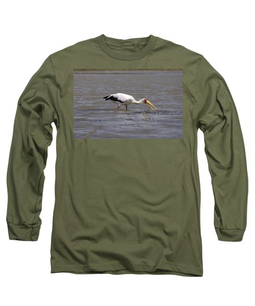 Yellow Billed Stork Wading In The Shallows Long Sleeve T-Shirt by Aidan Moran
