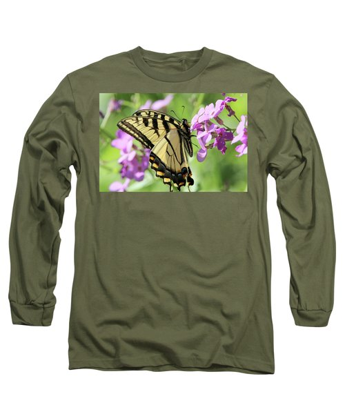 Yellow Butterfly Long Sleeve T-Shirt by David Stasiak