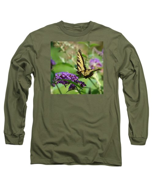 Yellow Butterfly On Purple Long Sleeve T-Shirt