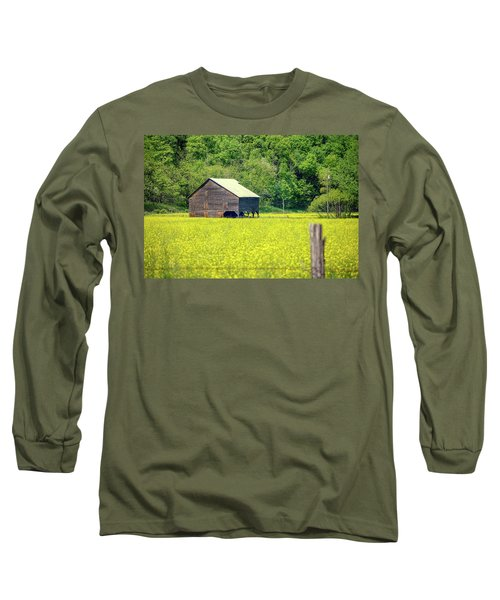 Yellow Field Rustic Shed Long Sleeve T-Shirt