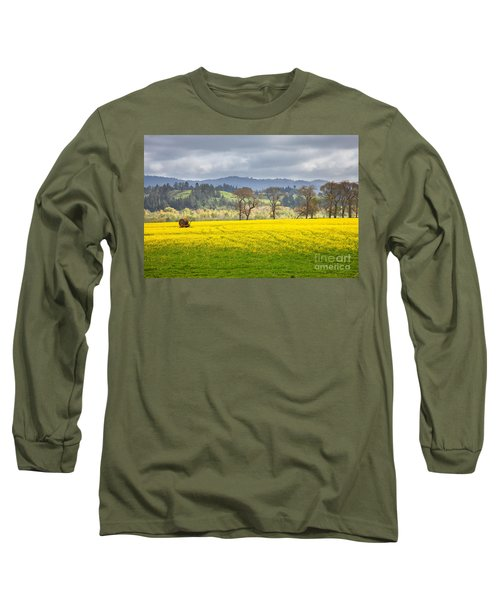Yellow Fields Along The Eel River Long Sleeve T-Shirt by Mark Alder