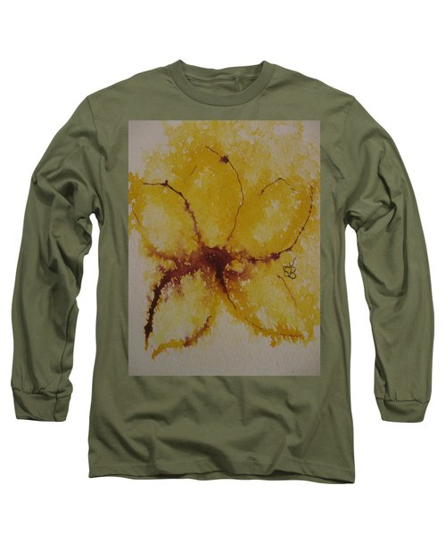 Yellow Flower Long Sleeve T-Shirt by AJ Brown