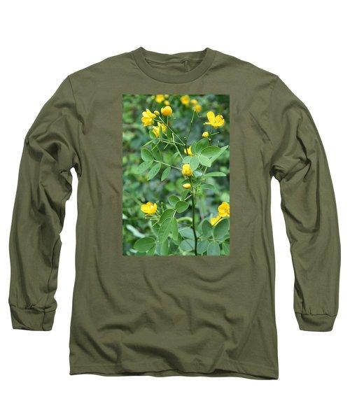 Yellow Flowers Long Sleeve T-Shirt by Karen Nicholson