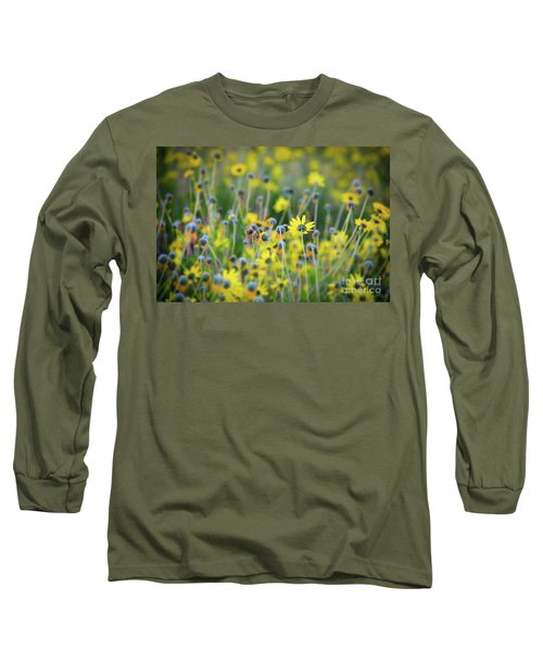 Yellow Flowers Long Sleeve T-Shirt by Kelly Wade