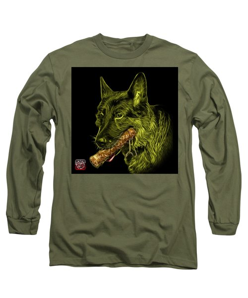 Long Sleeve T-Shirt featuring the digital art Yellow German Shepherd And Toy - 0745 F by James Ahn