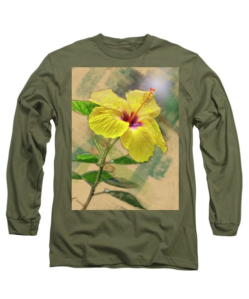 Yellow Hibiscus Long Sleeve T-Shirt