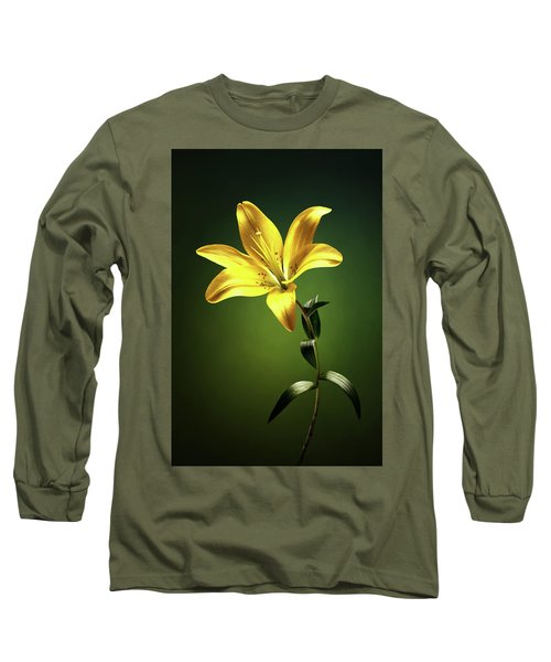 Yellow Lilly With Stem Long Sleeve T-Shirt