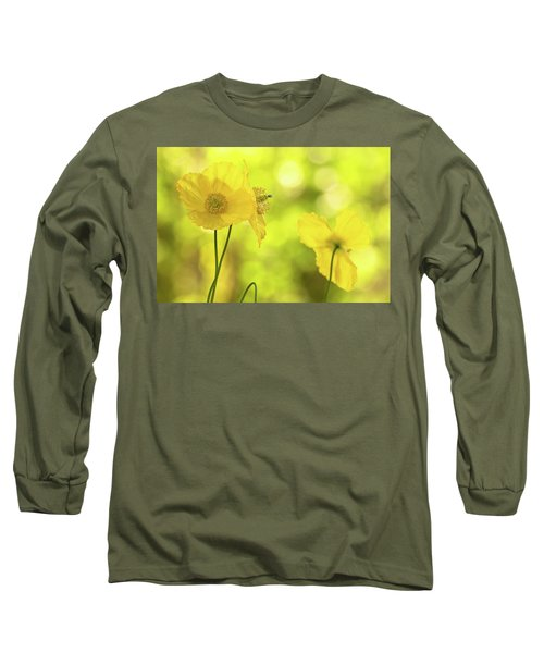 Long Sleeve T-Shirt featuring the photograph Yellow Poppies - California Poppy Flower by Peggy Collins