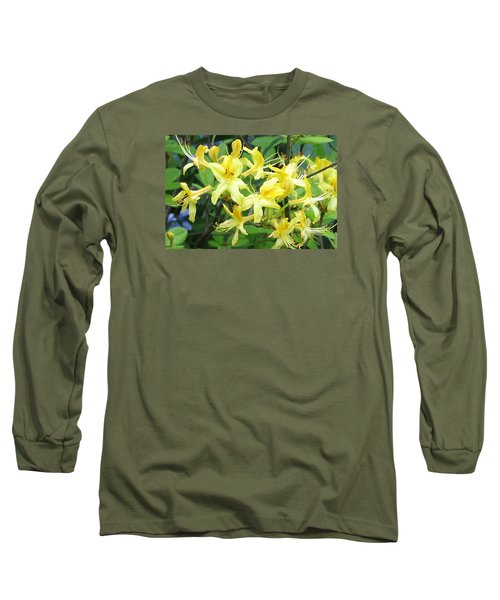 Yellow Rhododendron Long Sleeve T-Shirt by Carla Parris
