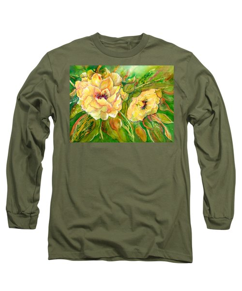 Yellow Peony Flowers Long Sleeve T-Shirt