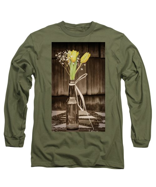 Yellow Tulips In Glass Bottle Sepia Long Sleeve T-Shirt by Terry DeLuco