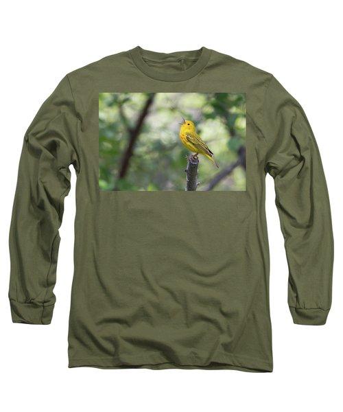 Yellow Warbler In Song Long Sleeve T-Shirt
