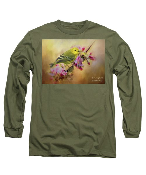 Yellow Warbler In The Flowers Long Sleeve T-Shirt