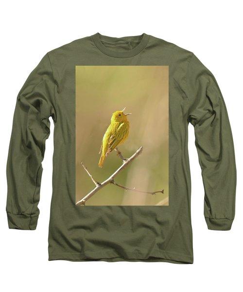 Yellow Warbler Song Long Sleeve T-Shirt by Alan Lenk