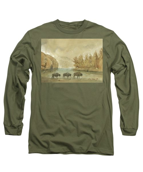 Yellowstone And Bisons Long Sleeve T-Shirt by Juan Bosco