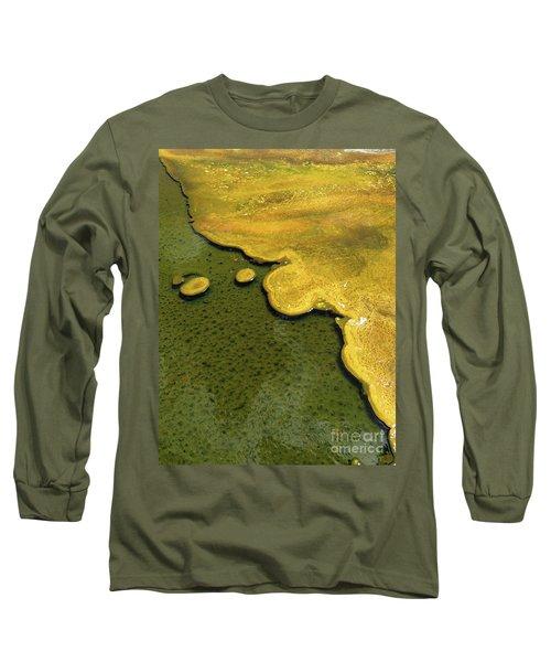 Yellowstone Art. Yellow And Green Long Sleeve T-Shirt by Ausra Huntington nee Paulauskaite
