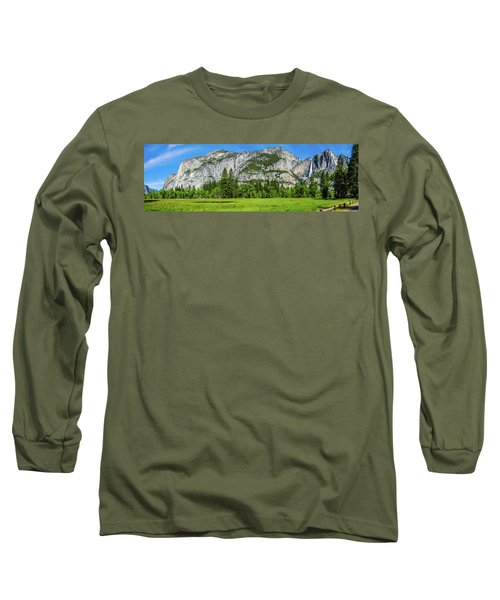 Yosemite West Valley Meadow Panorama #2 Long Sleeve T-Shirt