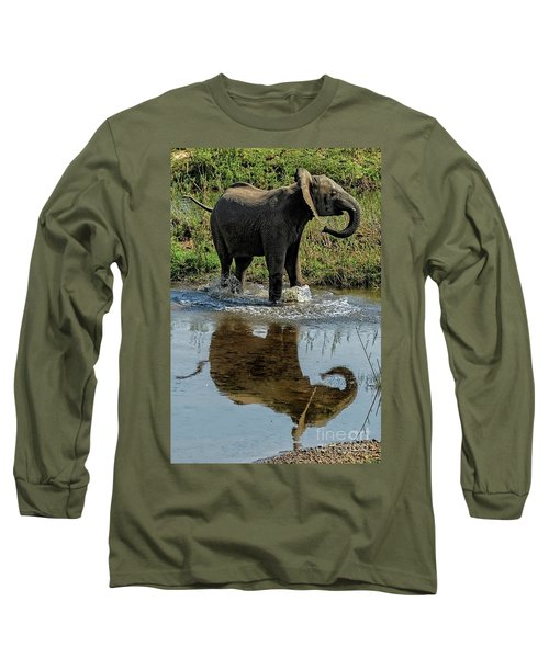Young Elephant Playing In A Puddle Long Sleeve T-Shirt