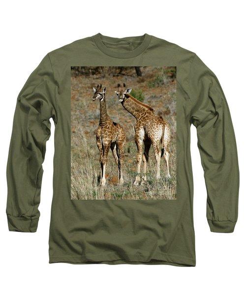 Long Sleeve T-Shirt featuring the photograph Young Giraffes by Myrna Bradshaw
