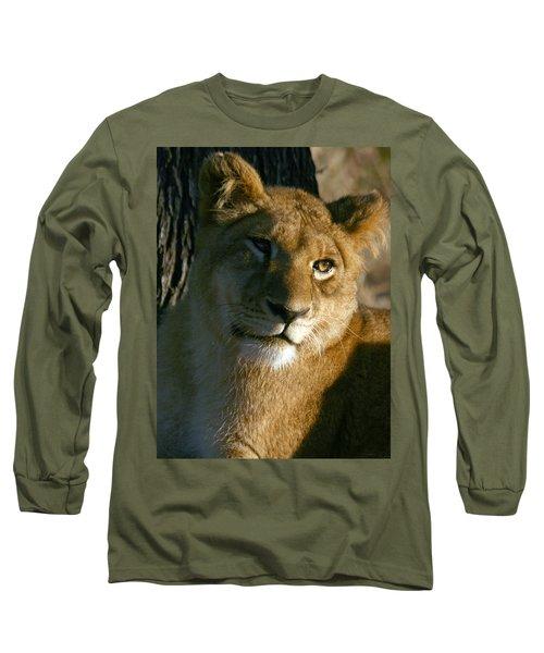 Long Sleeve T-Shirt featuring the photograph Young Lion by Karen Zuk Rosenblatt