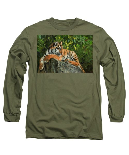 Long Sleeve T-Shirt featuring the painting Young Tiger Resting On Rock by David Stribbling