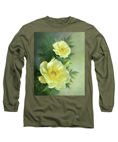 Long Sleeve T-Shirt featuring the digital art Yumi Itoh Peony by Thanh Thuy Nguyen