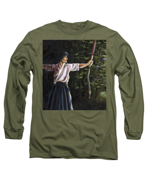 Long Sleeve T-Shirt featuring the painting Zanshin by Hiroko Sakai