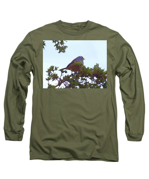 White Crowned Sparrow In Cedar Long Sleeve T-Shirt