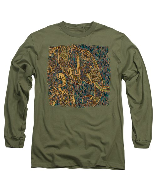 Zentangle Elephant-oil Gold Long Sleeve T-Shirt