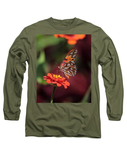 Zinnia With Butterfly 2668 Long Sleeve T-Shirt