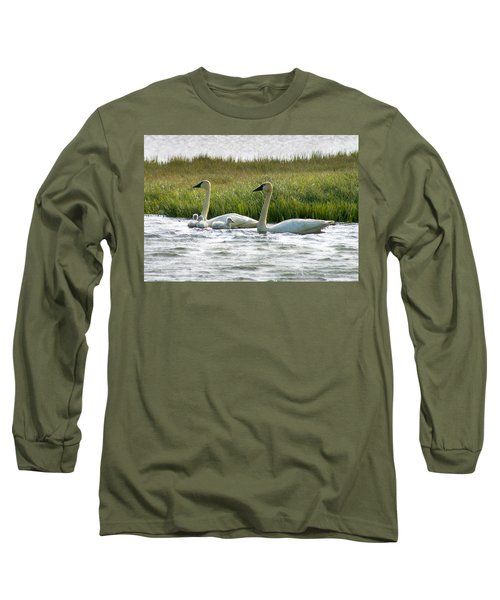 Arctic Tundra Swans And Cygnets Long Sleeve T-Shirt