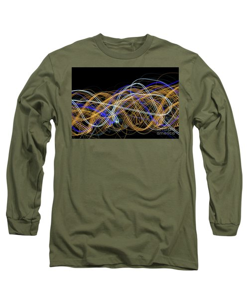 Colorful Light Painting With Circular Shapes And Abstract Black Background. Long Sleeve T-Shirt