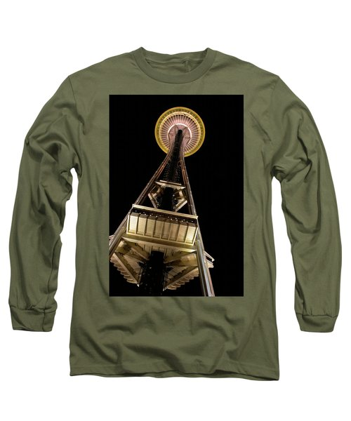 Seattle Space Needle At Night Long Sleeve T-Shirt