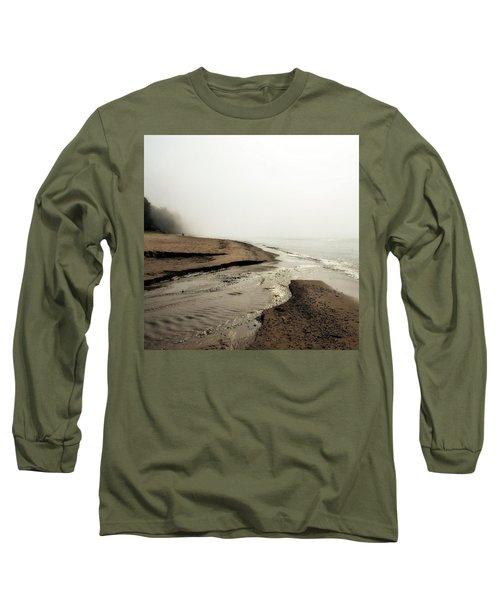 A Foggy Day At Pier Cove Beach Long Sleeve T-Shirt
