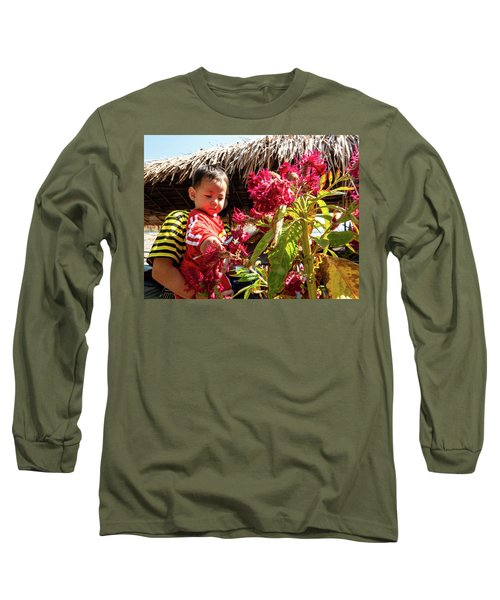 A Small Person With Reflected Flowers Long Sleeve T-Shirt